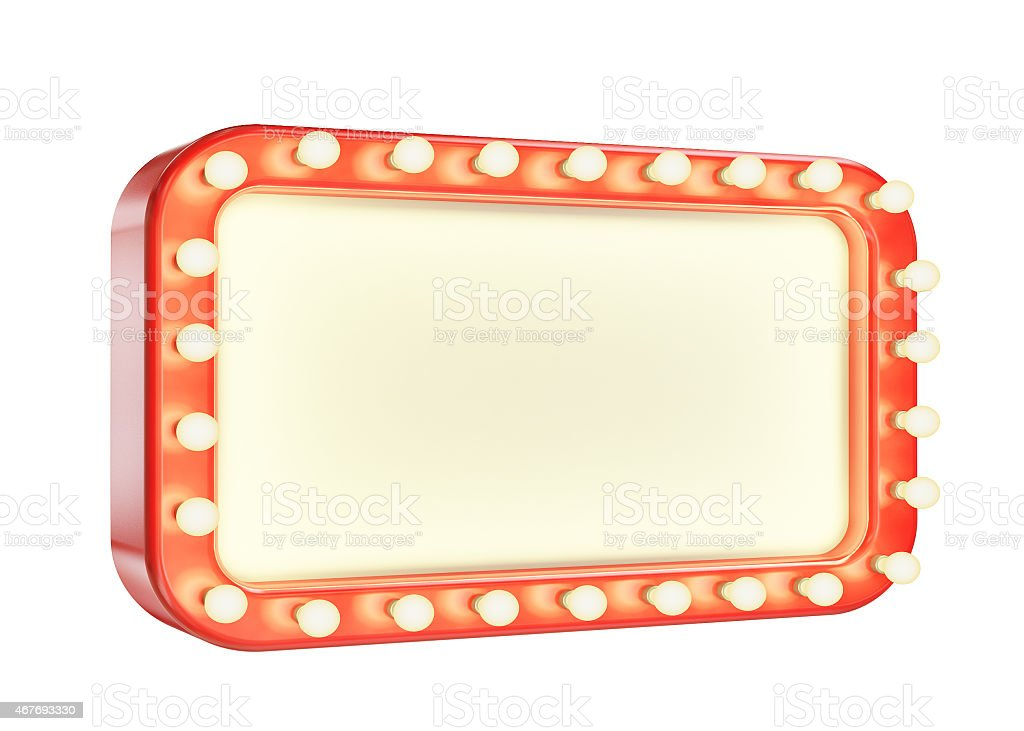 Blank marquee board with a lit red frame stock photo