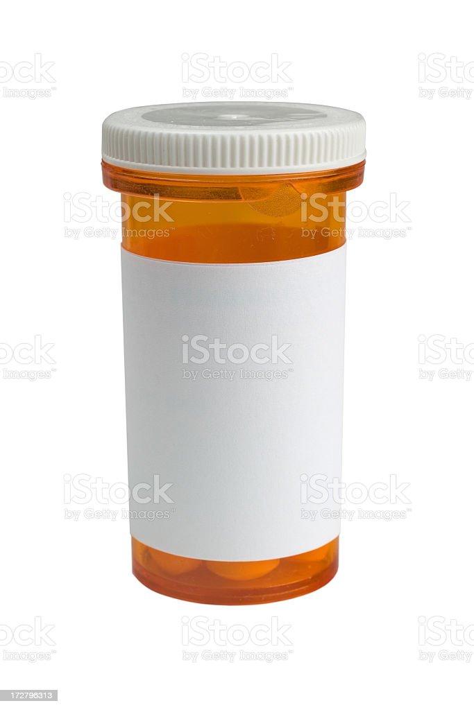 Blank medicine bottle against white background stock photo