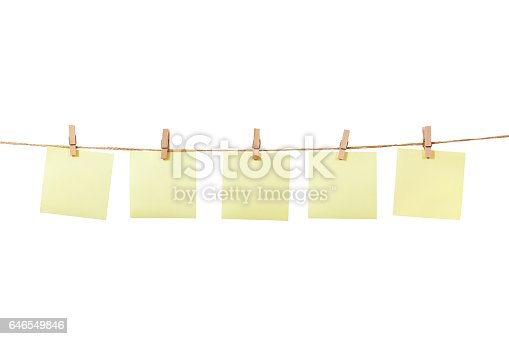 Blank Memo Paper On Rope On White Backgrounds Stock Photo