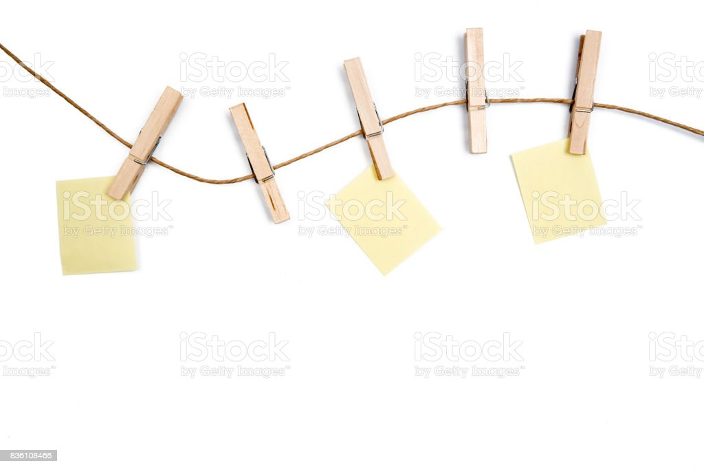 Yellow Memo On Clothesline Pictures Images And Stock Photos  Istock