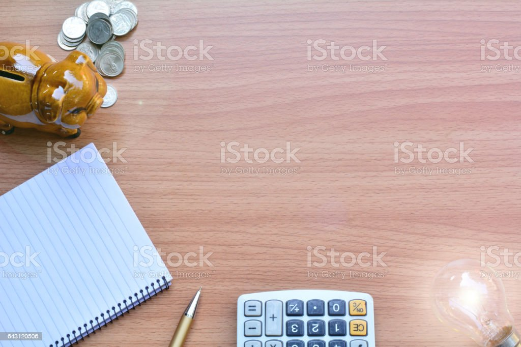 Blank memory book with pen and piggy bank stock photo