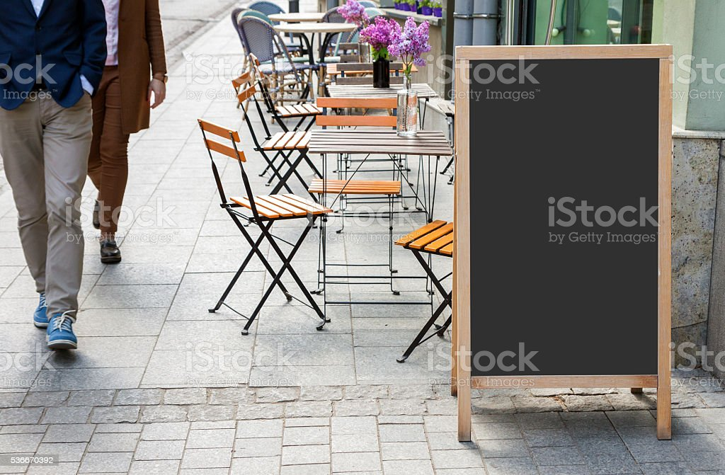 Blank menu blackboard on the street stock photo