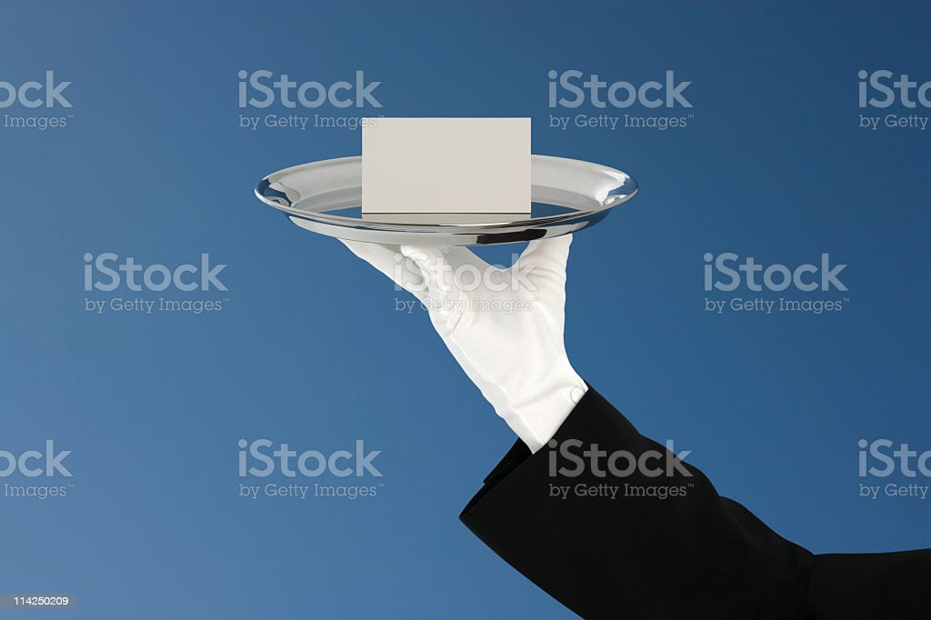 Blank message card on silver platter (XXL) royalty-free stock photo