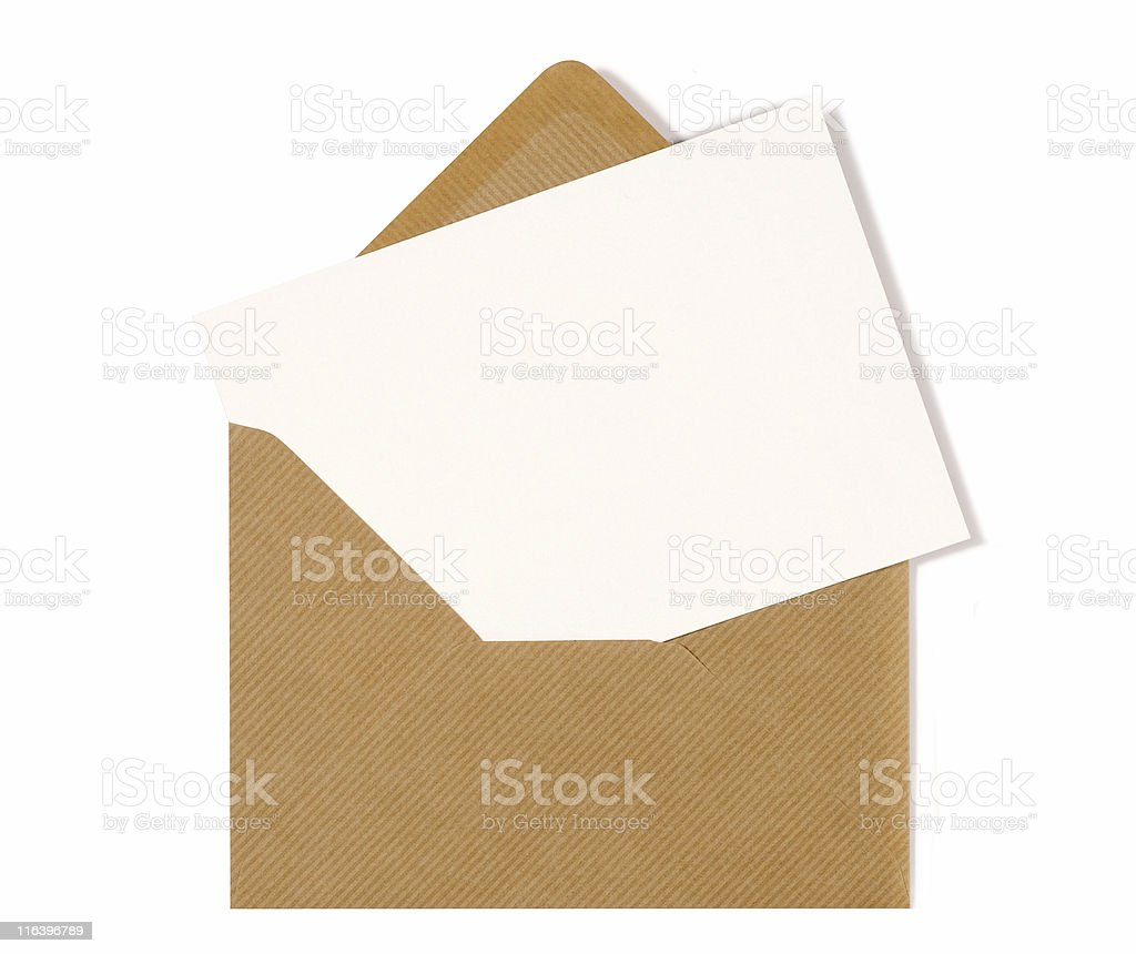 Blank message card with brown envelope stock photo