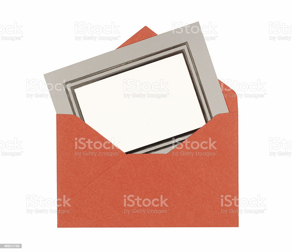 Blank message card with red envelope royalty-free stock photo