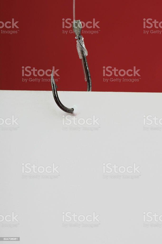 Blank message on fishhook stock photo