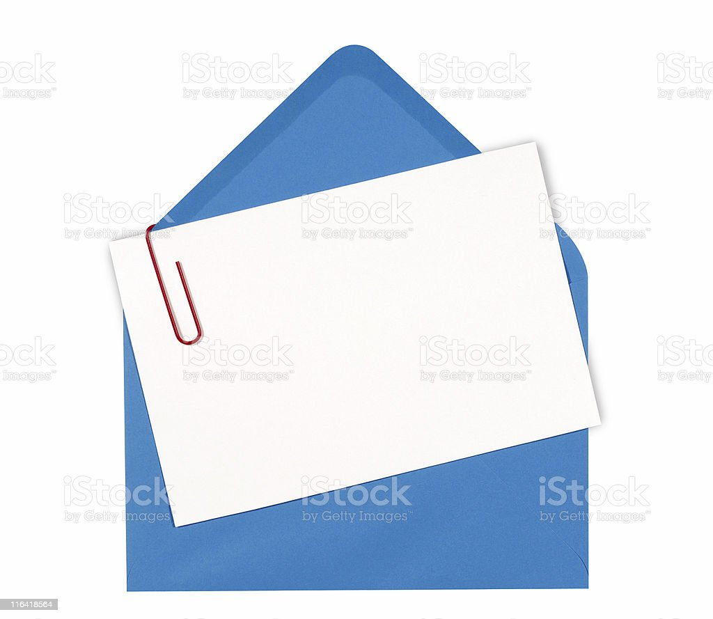 Blank message or invitation card with blue envelope royalty-free stock photo