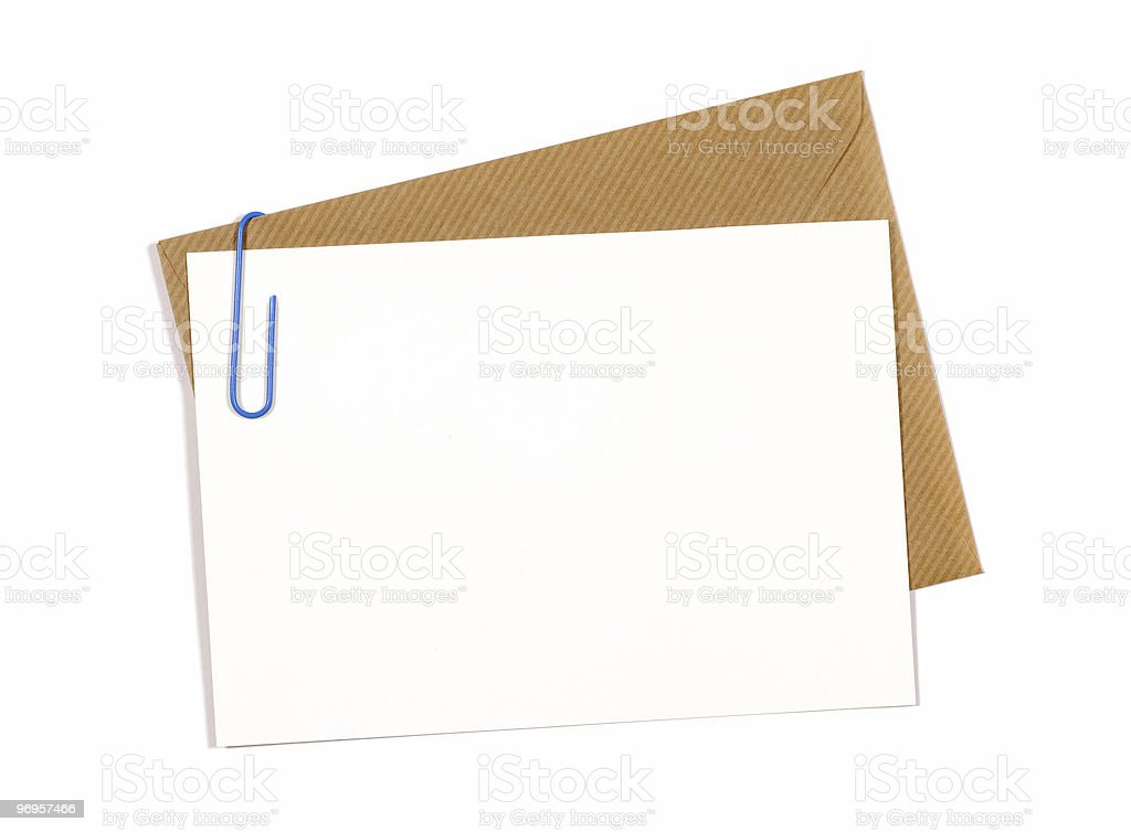 Blank message or invitation card with brown envelope stock photo