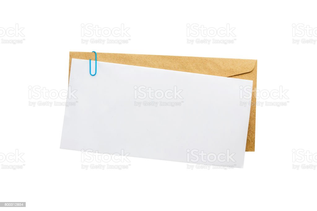 Blank message or invitation card with brown envelope.isolated on white background with clipping path. stock photo