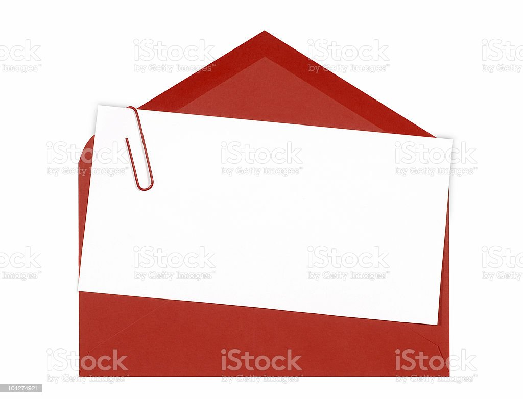 Blank message or invitation card with red envelope stock photo