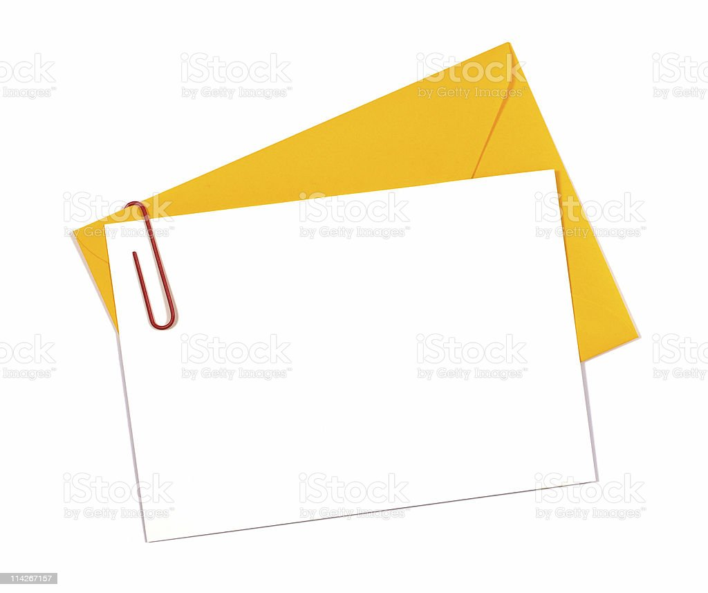 Blank message or invitation card with yellow envelope stock photo
