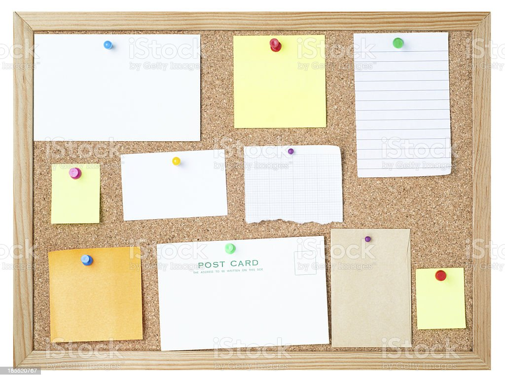 Blank Messages on Noticeboard stock photo