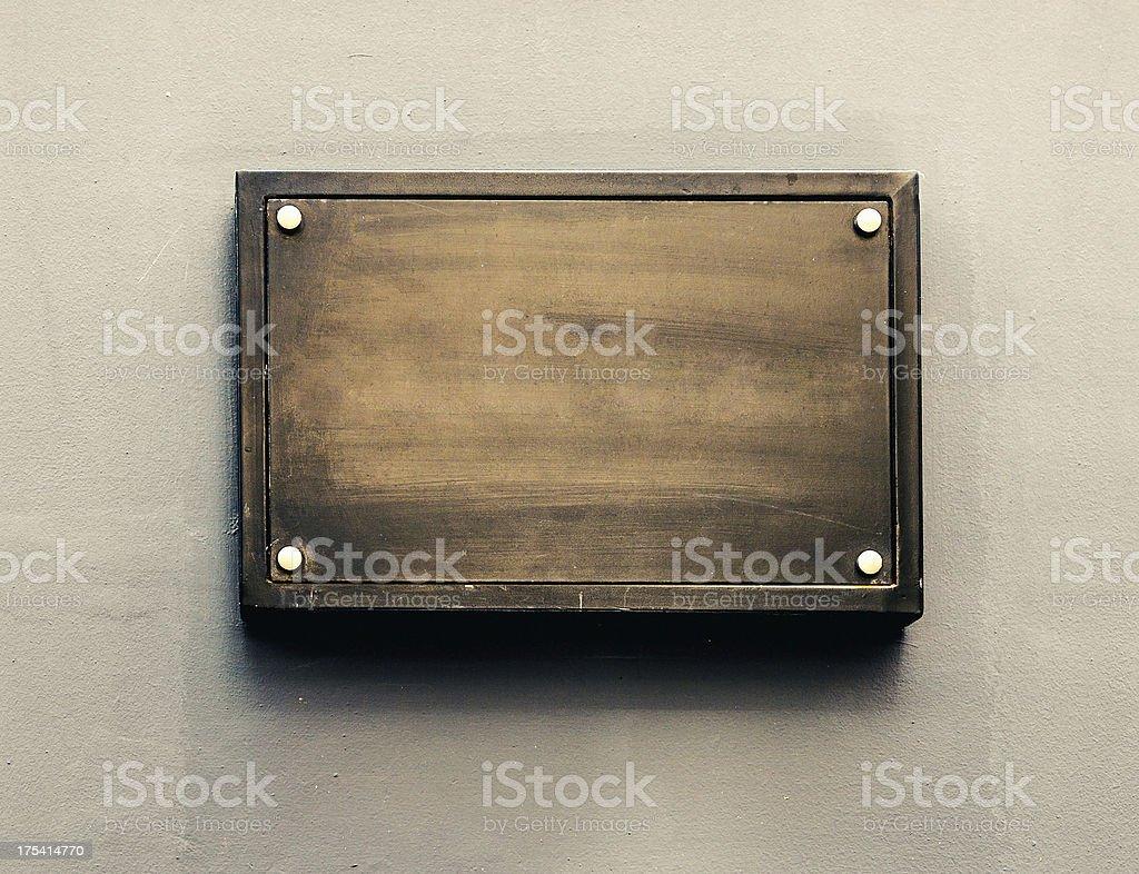 Blank metal plaque stock photo