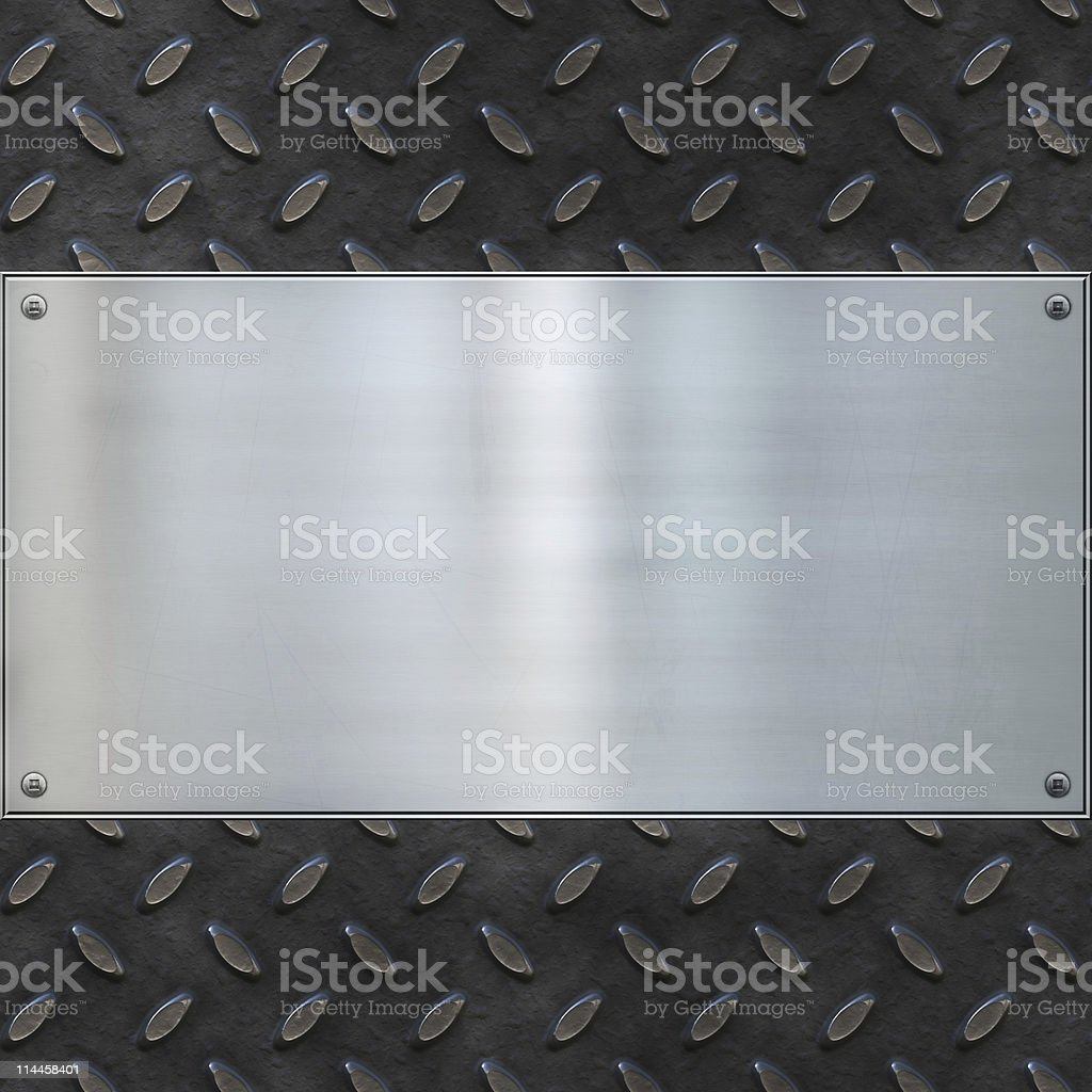Blank metal plate on textured metal background stock photo