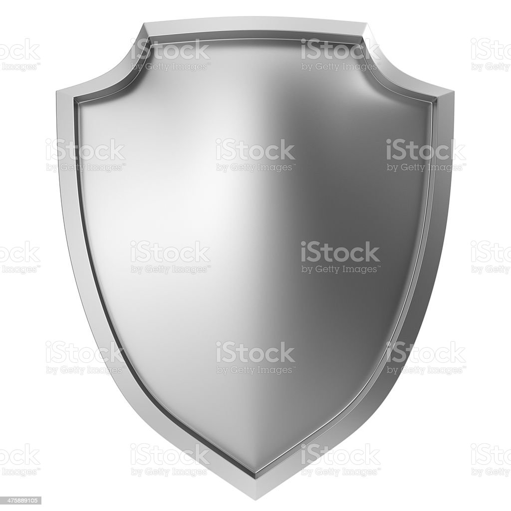 Blank metal shield stock photo