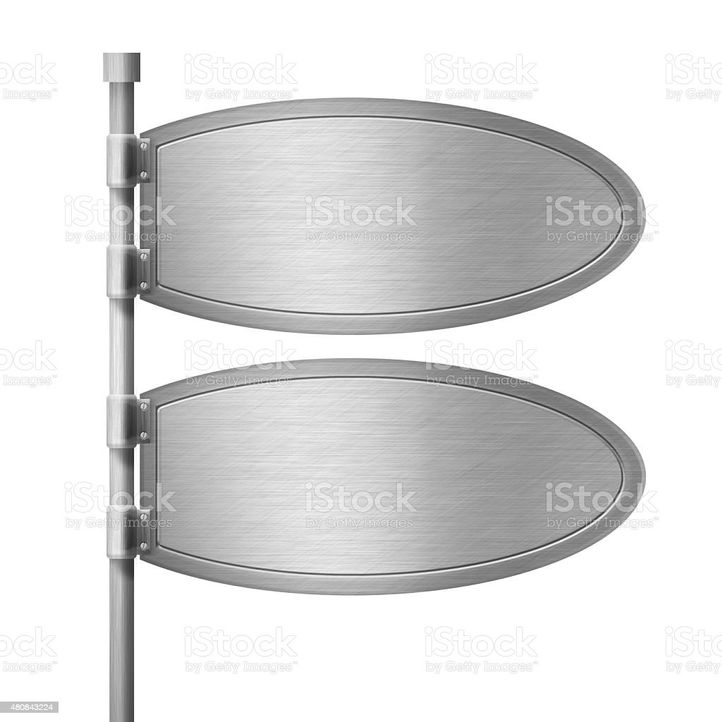 Blank metal sign. Isolated on White stock photo