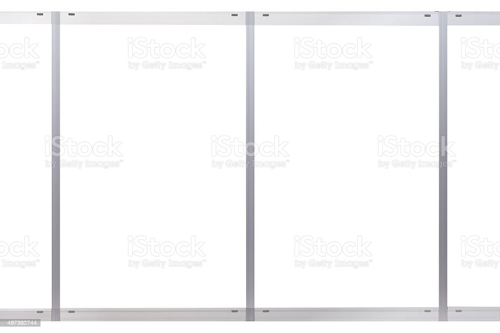 Blank metal window frame at building wall stock photo