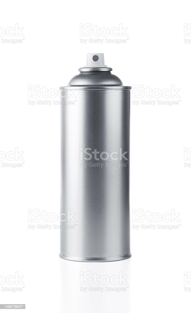 A blank metallic spray paint can on a white background stock photo