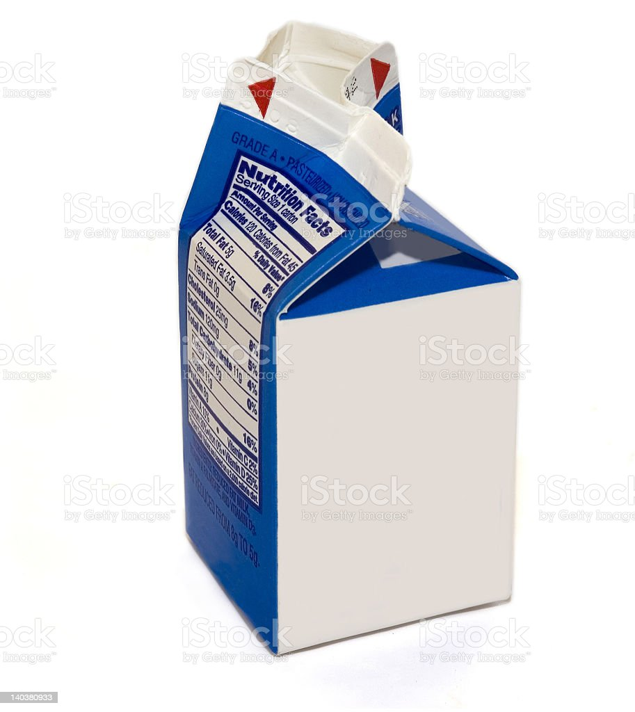 A blank milk carton on a white background stock photo