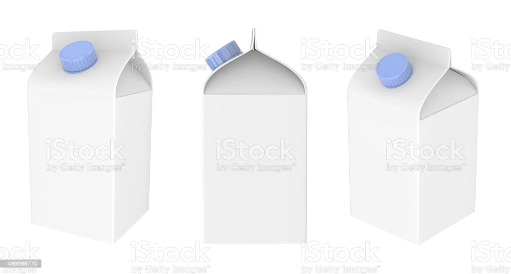 Blank milk, juice or drink carton package isolated on white stock photo