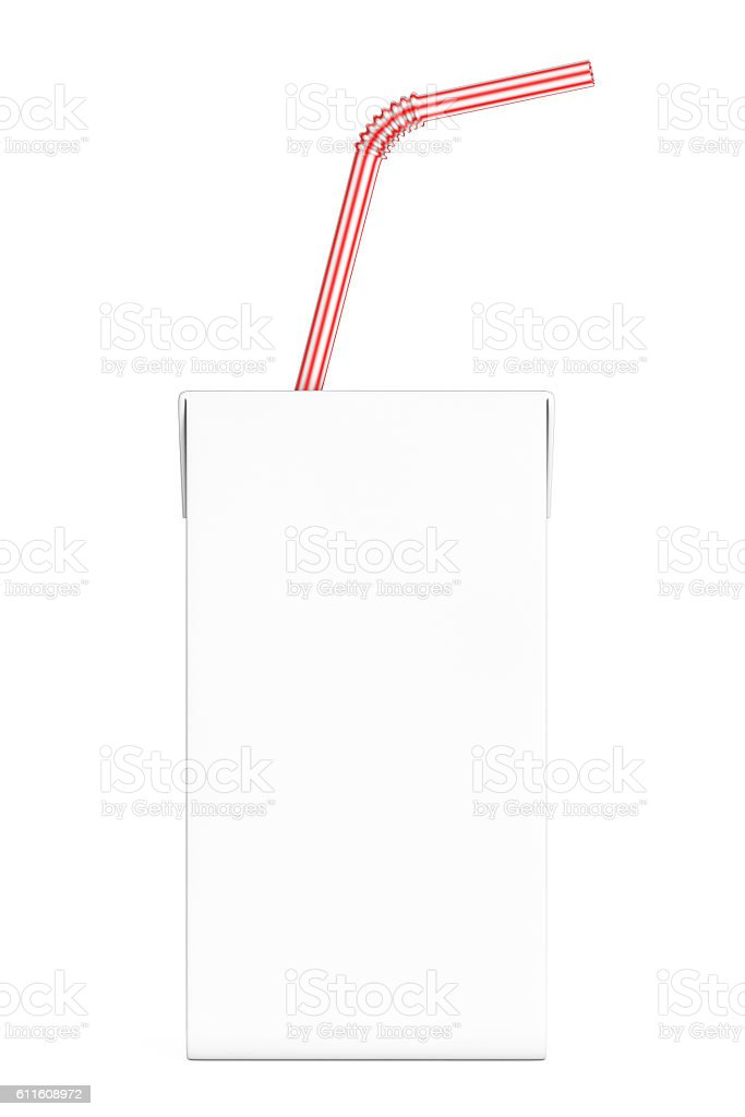 Blank Milk or Juice Carton Box with Red Striped Straw. stock photo