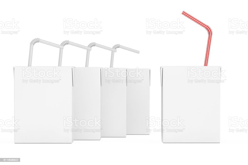 Blank Milk or Juice Carton Boxes with Striped Straw. stock photo