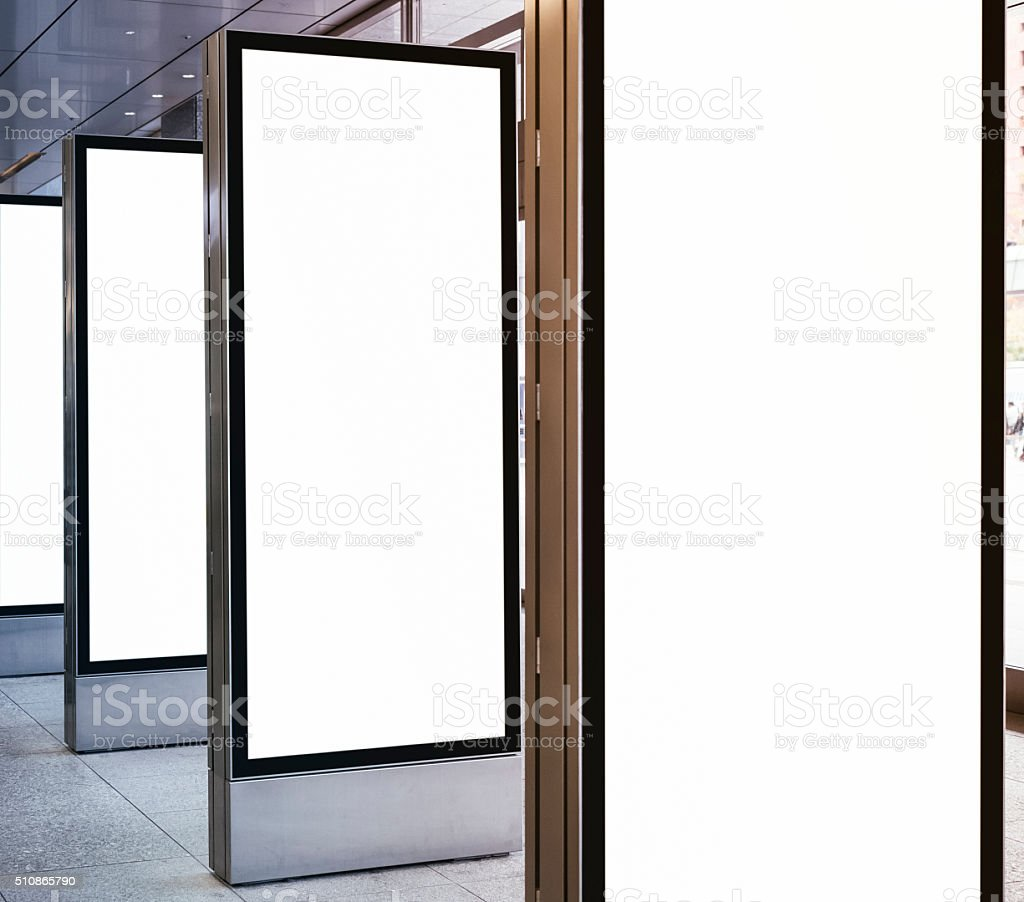 Blank mock up Light Box set Template sign stand display stock photo