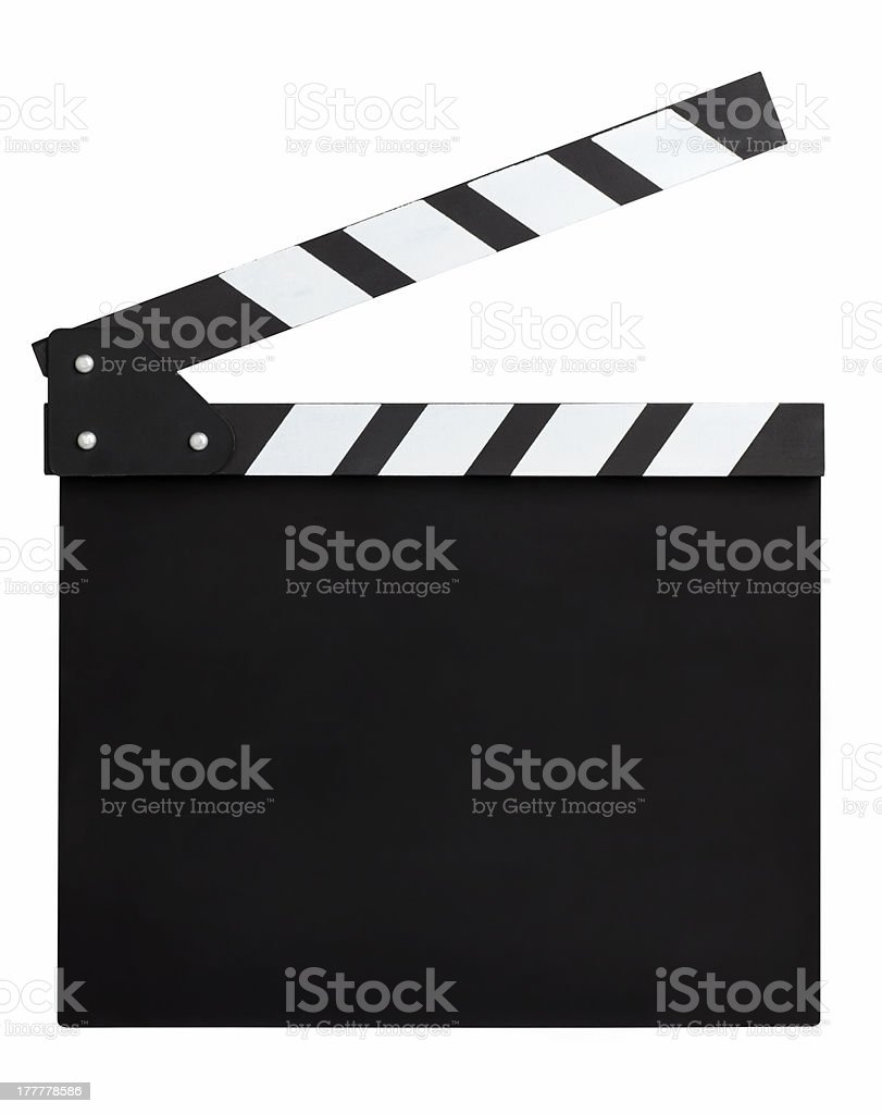 blank movie clapperboard stock photo