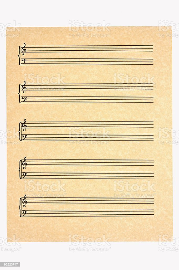 Blank Music Sheet, Treble and Bass Clefs stock photo