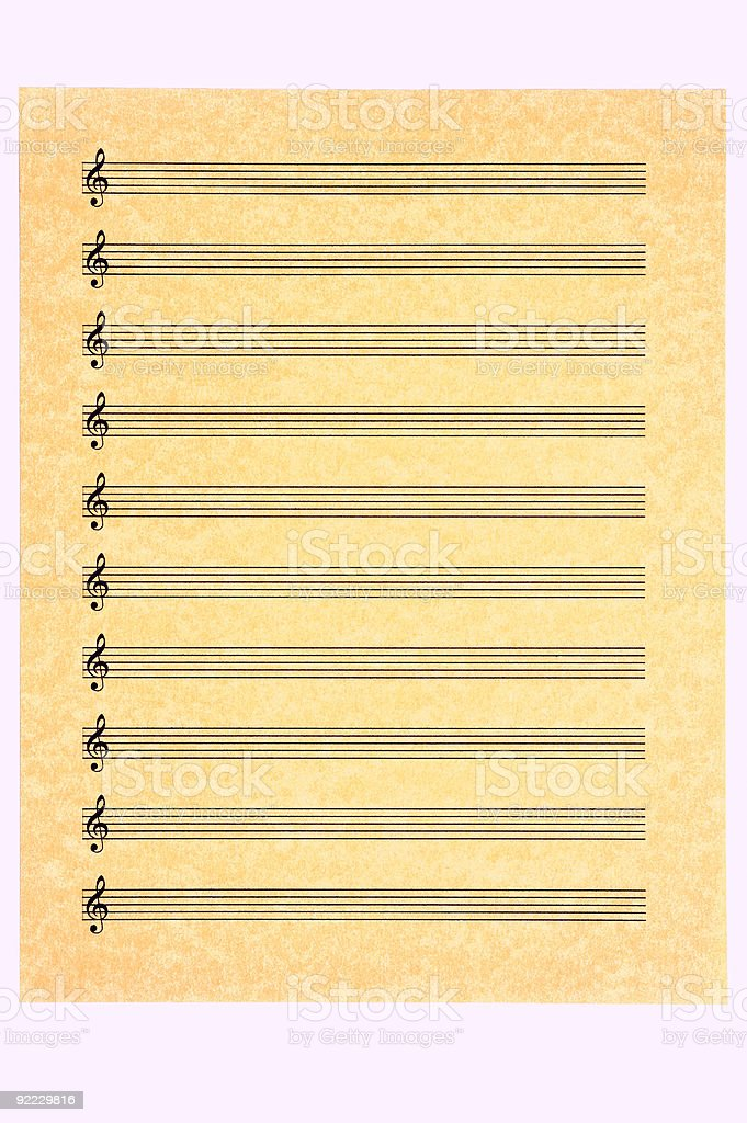 Blank Music Sheet-Treble Clef stock photo