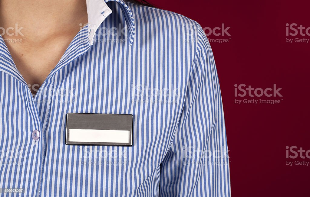 Blank Name Tag on Shirt stock photo