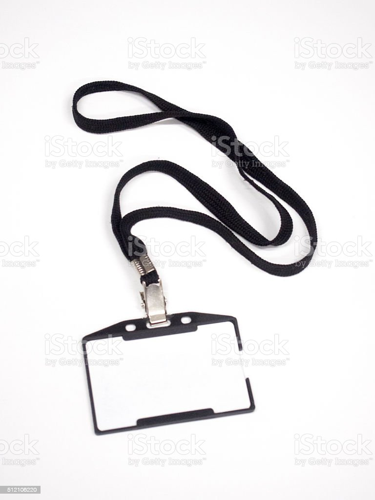 Blank Name Tag With Lanyard stock photo