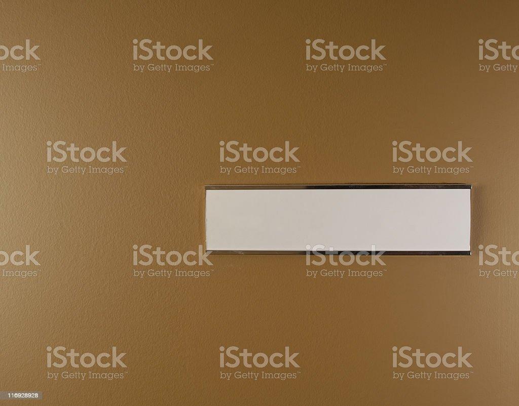 Blank nameplate on an office door stock photo