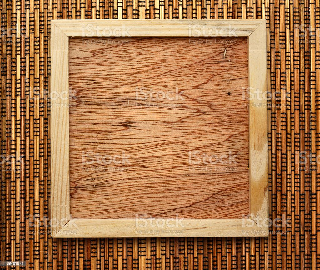 Blank new square wooden frame stock photo