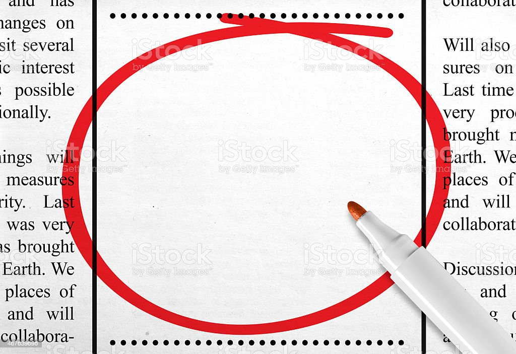 Blank newspaper ad space circled with a red marker  stock photo