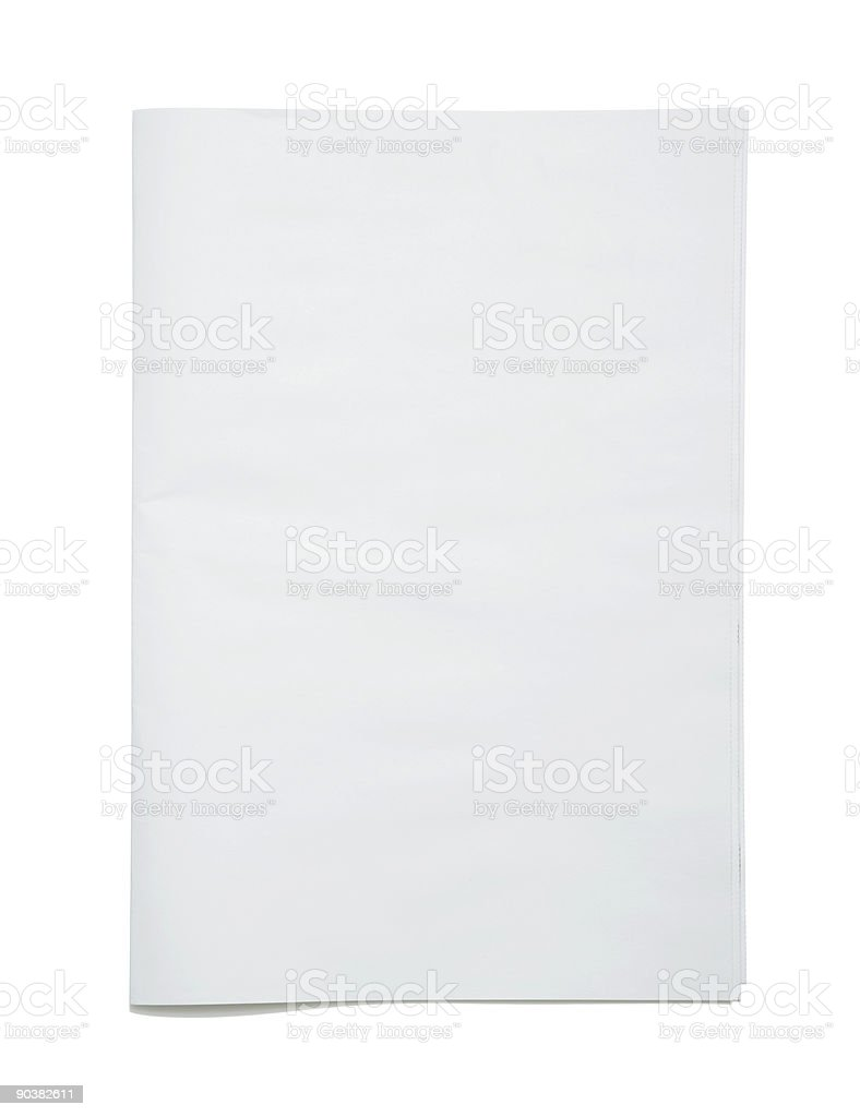 Blank newspaper frontpage stock photo