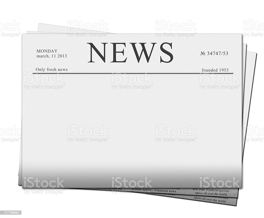 Blank newspaper headline template stock photo