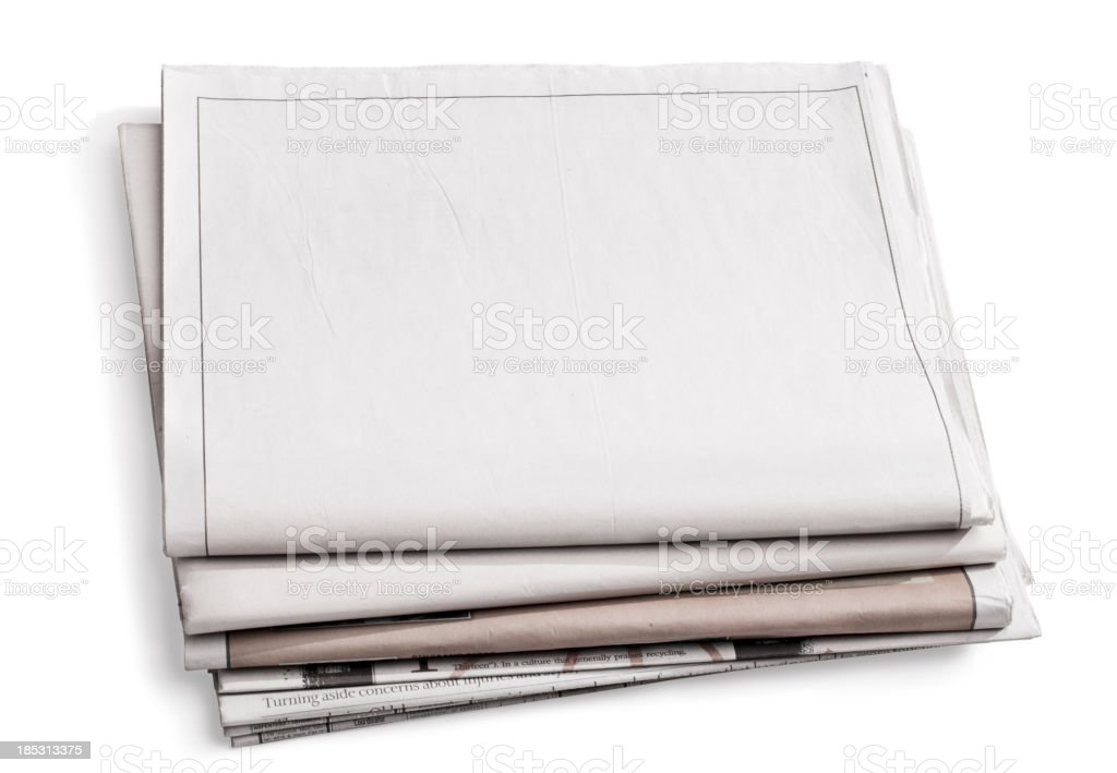 Blank Newspaper Isolated on White royalty-free stock photo