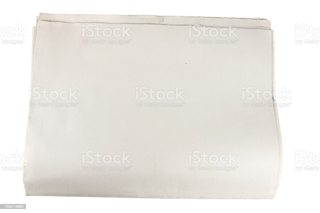 blank newspaper paper on isolated white stock photo