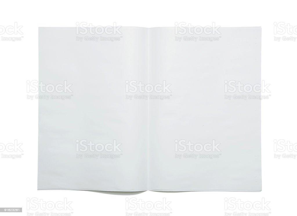 Blank newspaper spread stock photo