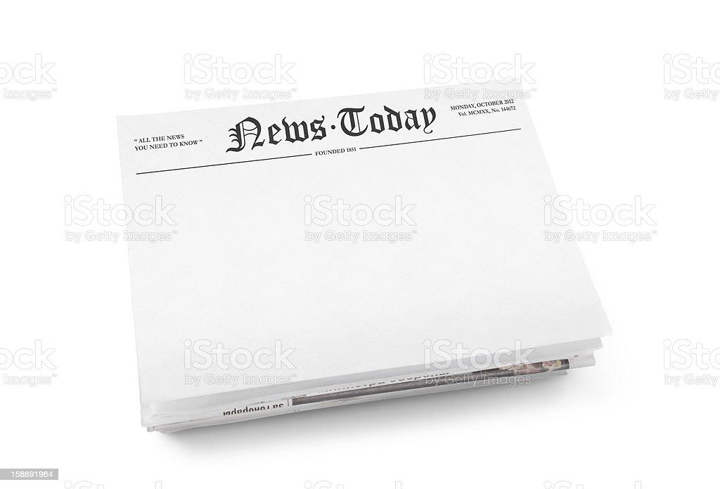 Blank newspaper with headline stock photo