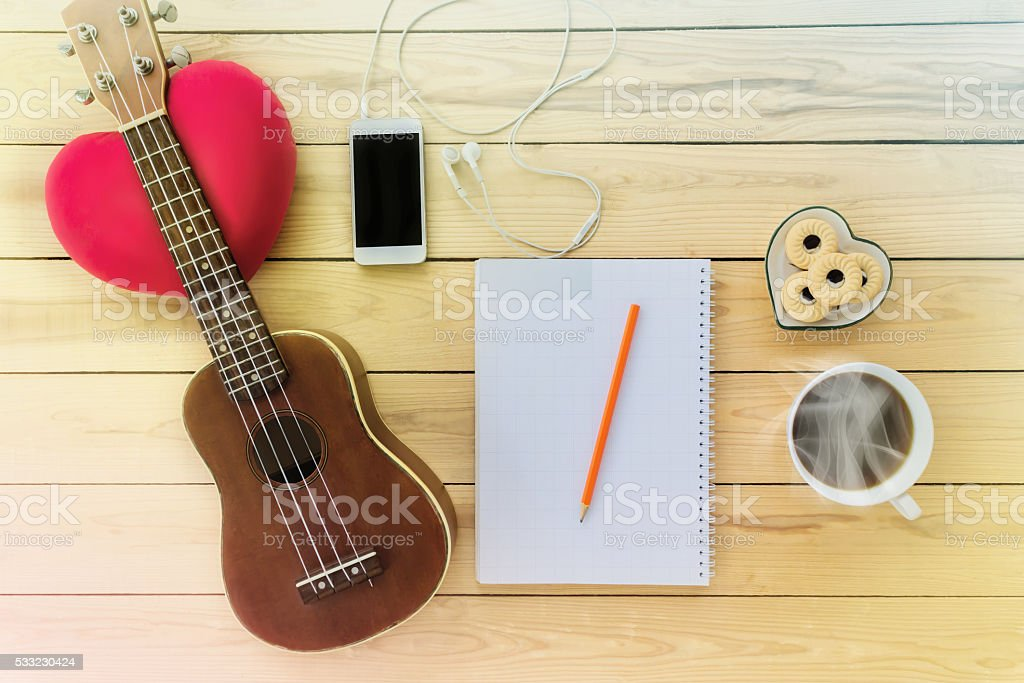 Blank note book and pencil ,coffee,cookie, mobile stock photo