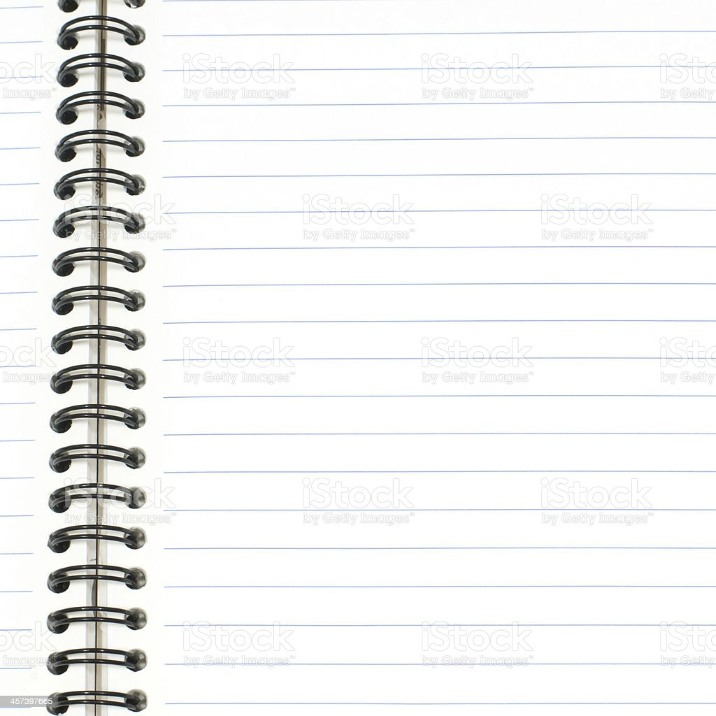 Blank note book isolated on white. stock photo