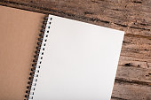 blank note book  on  wood table