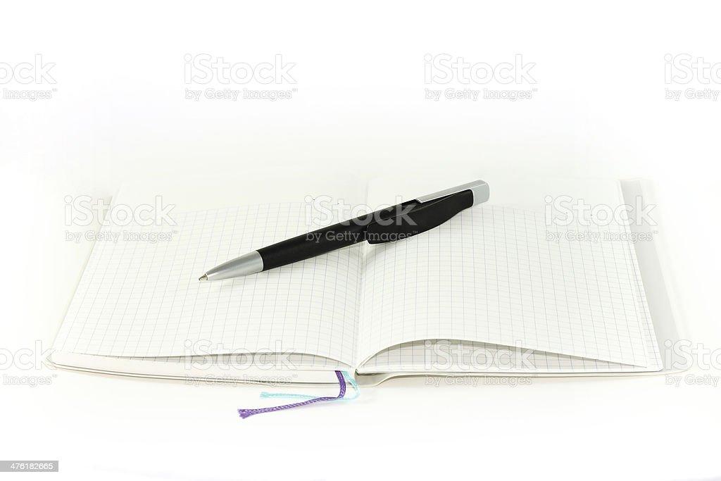 Puste Uwaga książki z pen. na białym tle. zbiór zdjęć royalty-free