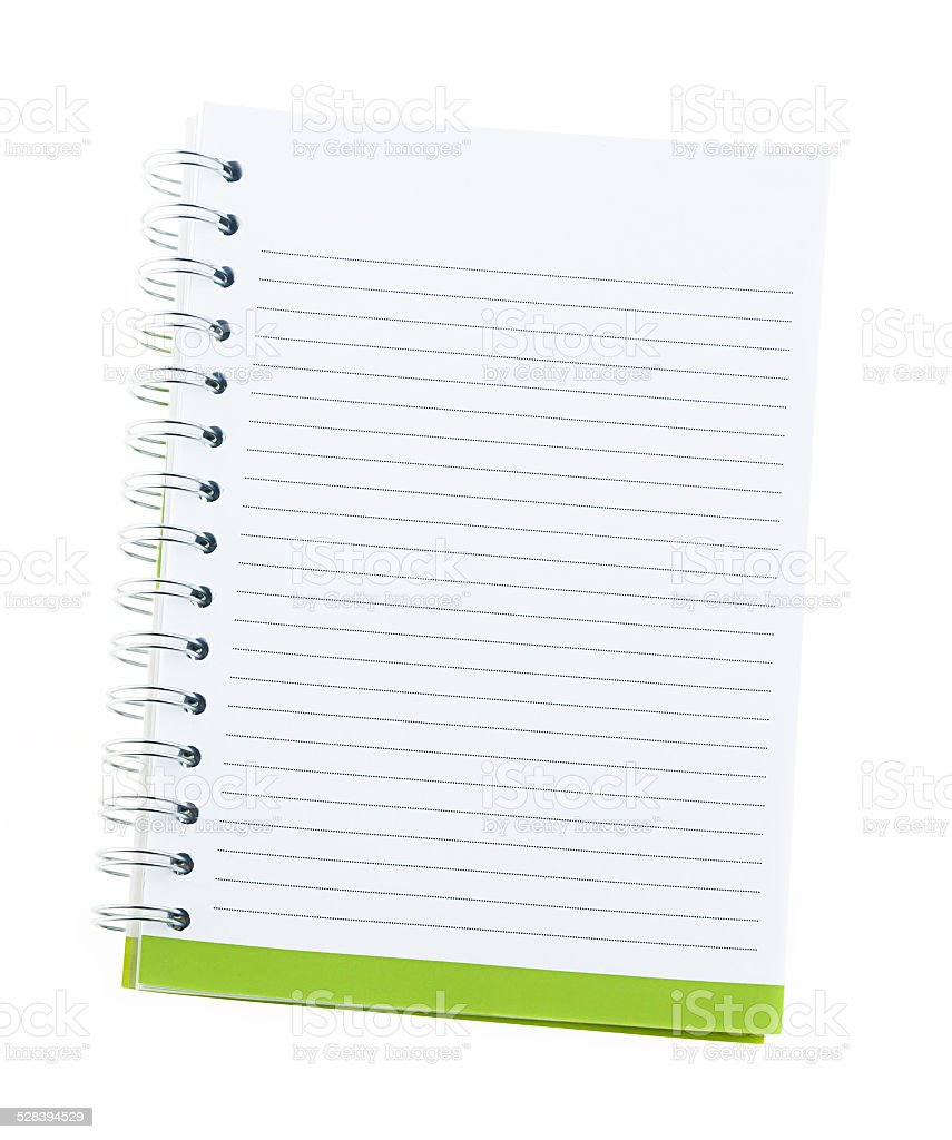 Blank note book with ring binder holes isolated on white. stock photo