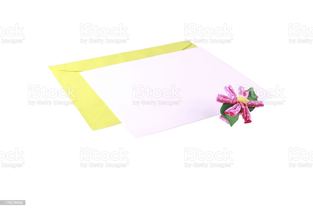 Blank Note Card and Envelope royalty-free stock photo