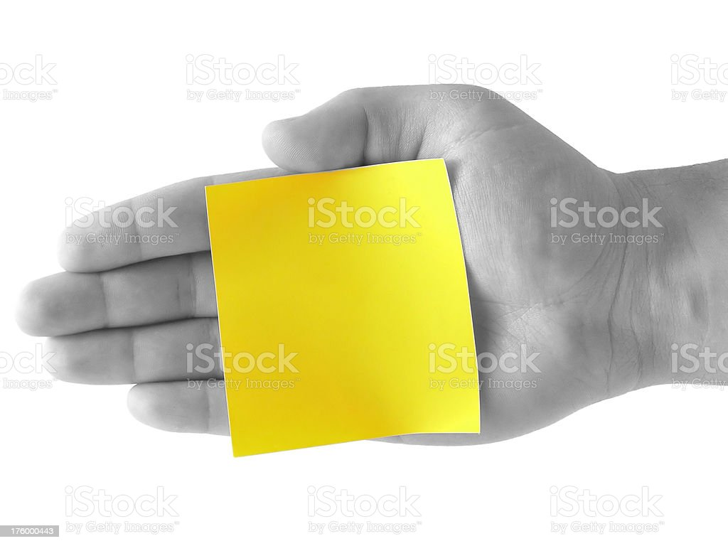 Blank Note Card in Hand royalty-free stock photo