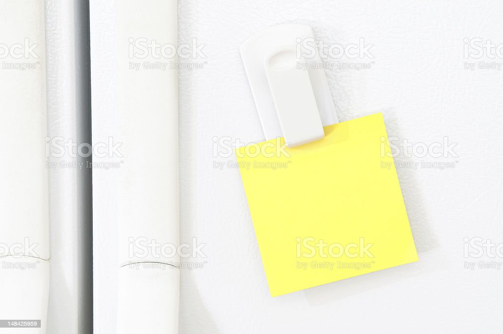 Blank Note for Message on Refrigerator stock photo