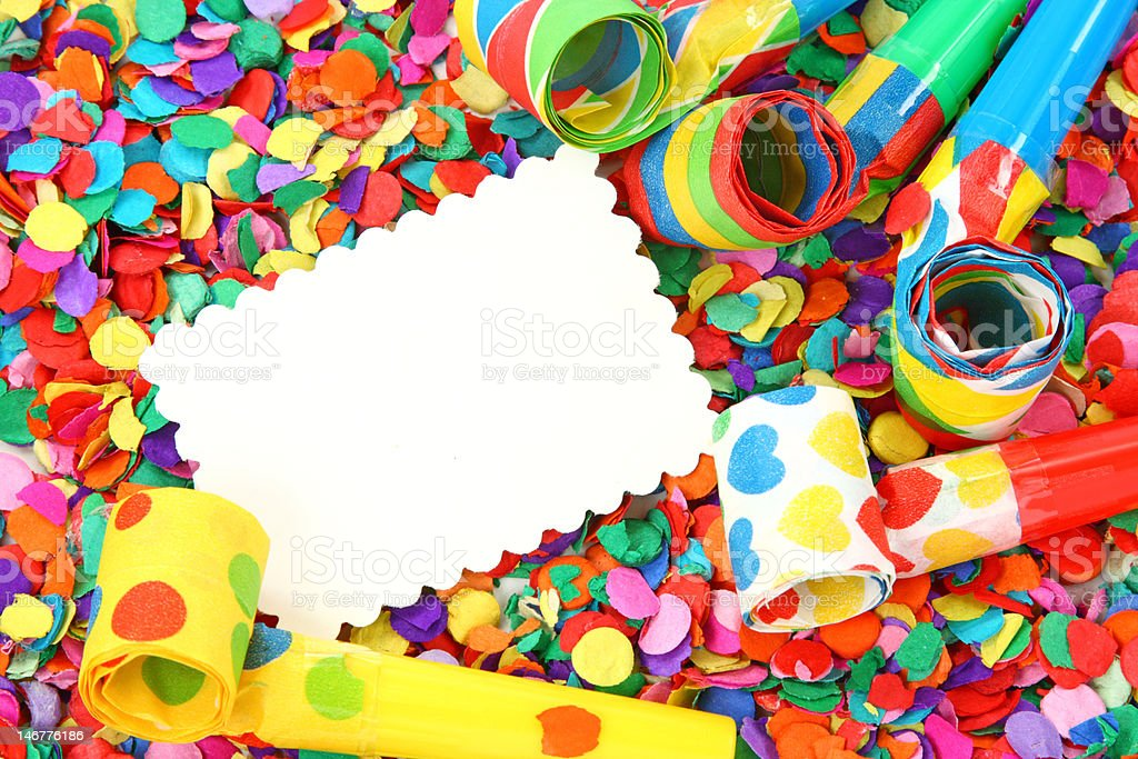 Blank note on confetti royalty-free stock photo